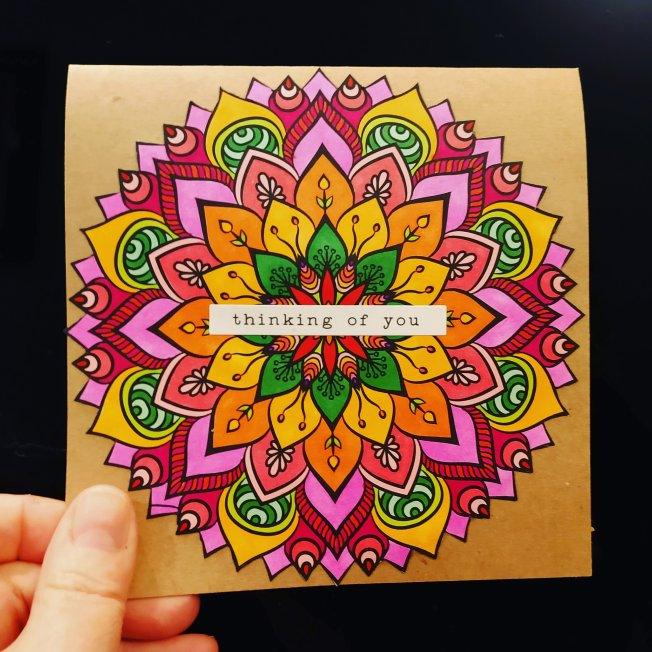Kraft card with colorful mandala